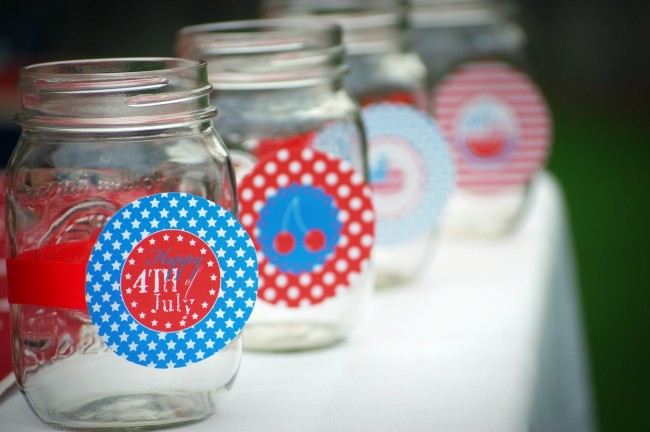 july4party.4th of july party mason jar drinks glasses