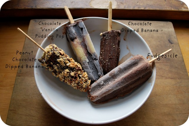 Photo.popsicles.Assorted Chocolate Popsicles Labeled