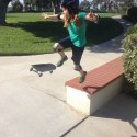 My daughter practicing her skateboarding moves!  She's fearless!