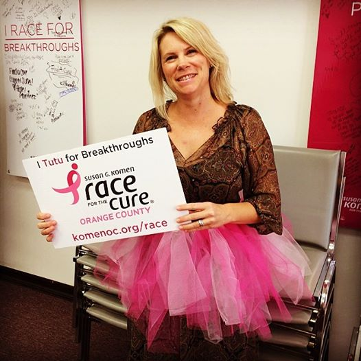 Wearing my pink tutu in support of the Race for the Cure!