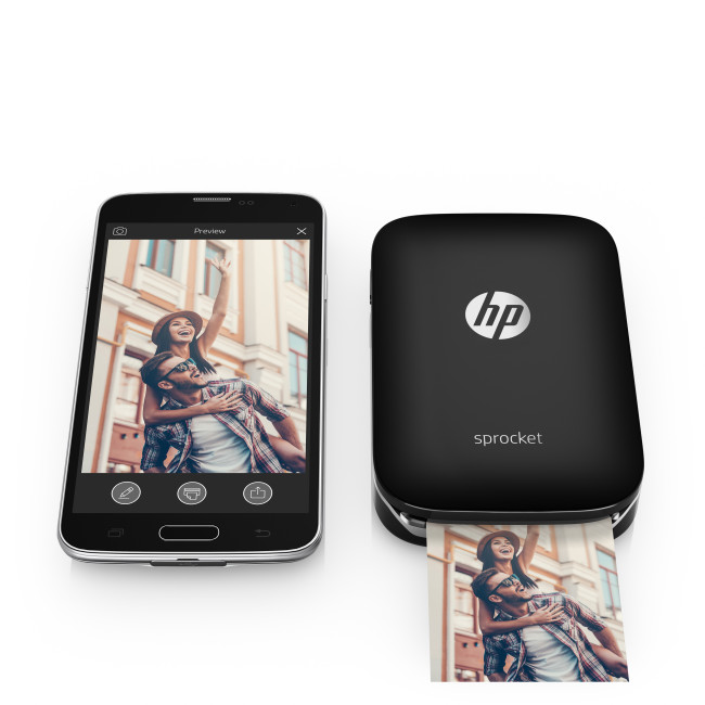 HP Sprocket Photo Printer (Black) with phone, Center, Front, with output